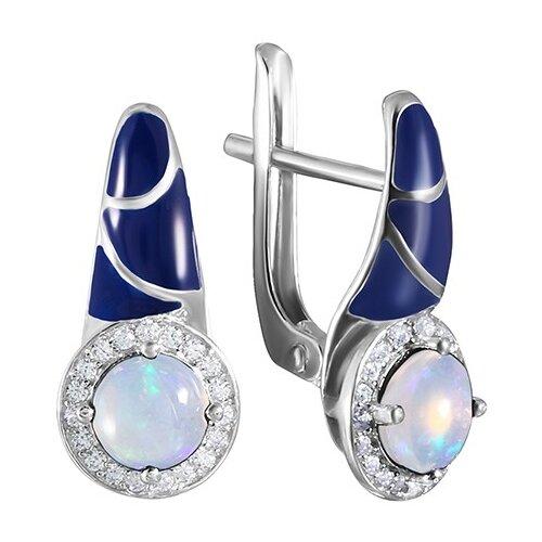JV Серебряные серьги с кубическим цирконием, опалом, эмалью EN-04-SR-OP-001-WG