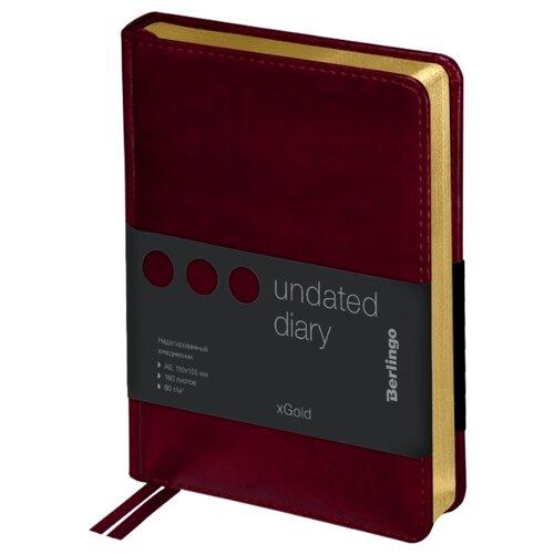 Купить Ежедневник Berlingo xGold недатированный, искусственная кожа, А6, 160 листов, бордовый, Ежедневники, записные книжки