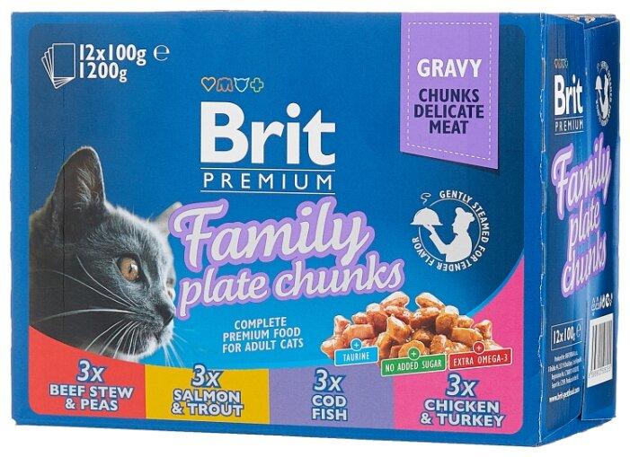 Купить Корм для кошек Brit Premium Family Plate с курицей, с индейкой, с говядиной, с треской, с лососем, с форелью 12шт. х 100 г (кусочки в соусе) по низкой цене с доставкой из Яндекс.Маркета (бывший Беру)