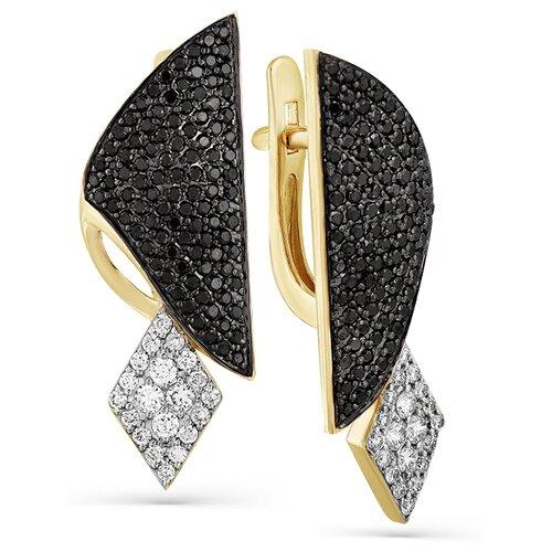 Мастер Бриллиант Золотые серьги с бриллиантом, черным бриллиантом 2-107-738-55