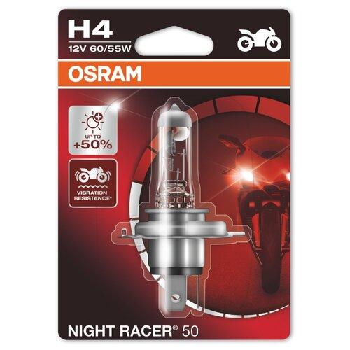 Лампа автомобильная галогенная Osram Night racer 50 64193NR5-01B H4 60/55W 1 шт. автомобильная лампа h4 12v 60 55w night breaker silver osram 2 шт