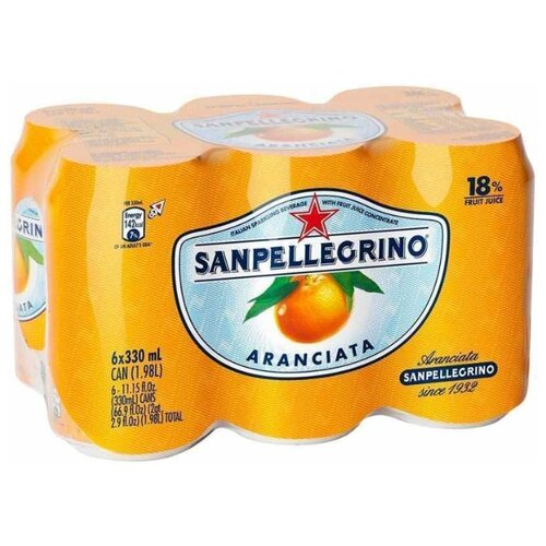 Газированный напиток Sanpellegrino Aranciata Апельсин, 0.33 л, 6 шт.Лимонады и газированные напитки<br>