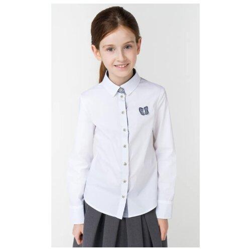 Купить Рубашка Маленькая Леди размер 134, белый, Рубашки и блузы
