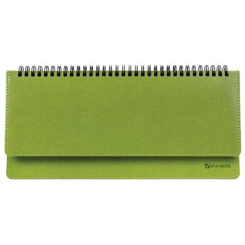 Купить Планинг BRAUBERG Rainbow недатированный, искусственная кожа, 60 листов, зелeный, Ежедневники, записные книжки