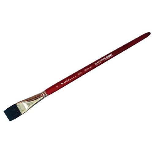 Кисть Художественные Материалы Автор, белка-эко №6, плоская, короткая ручка красный
