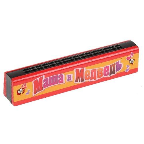 Купить Играем вместе губная гармошка Маша и Медведь HLJ180108-3 красный/желтый/черный, Детские музыкальные инструменты