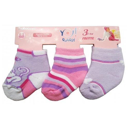 Носки Yo! комплект из 3 пар, размер 6-9 мес(10), сиреневый/розовый
