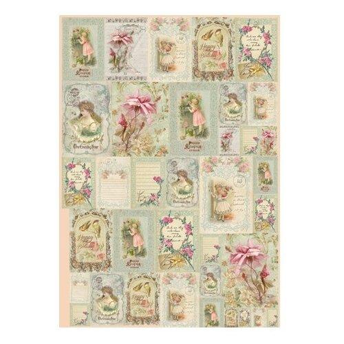 Карта для декупажа Девочки и цветы 50 х 70 см 1 лист, Stamperia, Карты, салфетки, бумага  - купить со скидкой