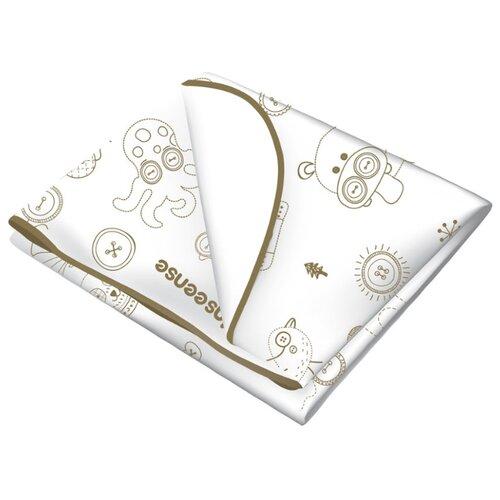 Многоразовая клеенка Inseense с ПВХ-покрытием c тесьмой, 70 х 100 см белый с рисункомПеленки, клеенки<br>