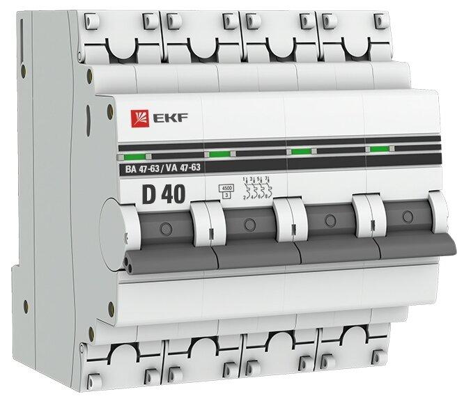 Автоматический выключатель EKF ВА 47-63 4P (D) 4,5kA