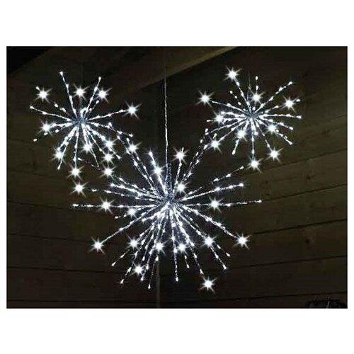 Светящееся украшение СЕВЕРНАЯ ЗВЕЗДА серебряная, 160 мерцающих холодных белых LED-огней, 70 см, уличная, Kaemingk
