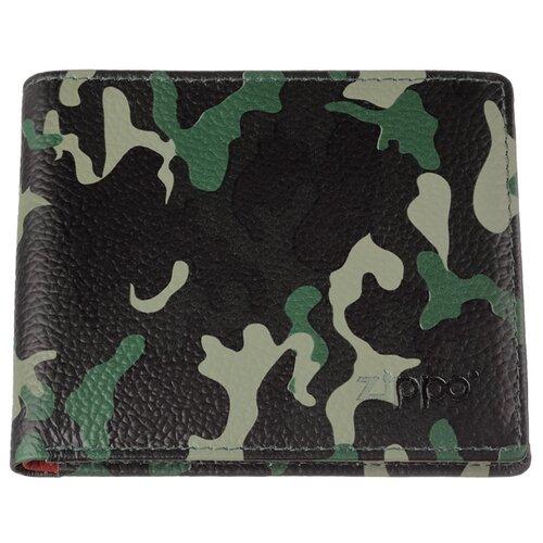 Портмоне ZIPPO, зелёно-чёрный камуфляж, натуральная кожа, 10,8×1,8×8,6 см