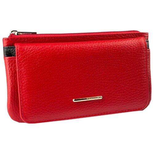 Портмоне Dimanche 815, натуральная кожа красный с черной полоской сумка поясная dimanche натуральная кожа красный