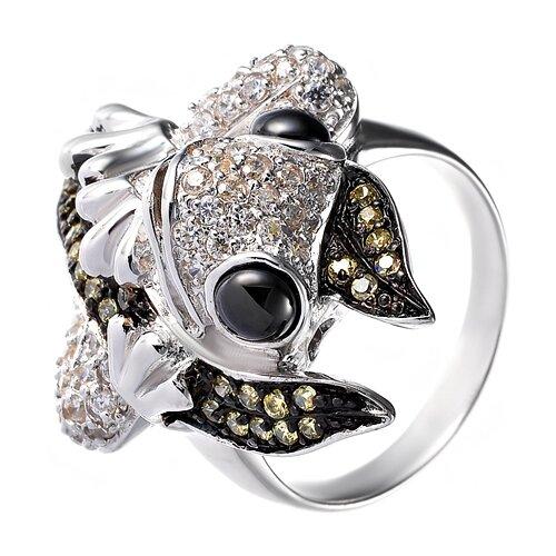 Фото - JV Серебряное кольцо с кубическим цирконием, ониксом R110160B-OX-001-WG, размер 17 jv кольцо с ониксами и фианитами из серебра pr150002b ox 001 wg размер 17