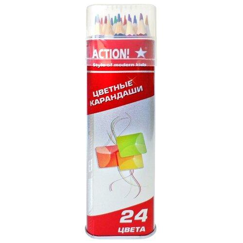Action! Карандаши цветные 24 цвета (ACP303-24) карандаши цветные krasin веселый кролик 24 шт