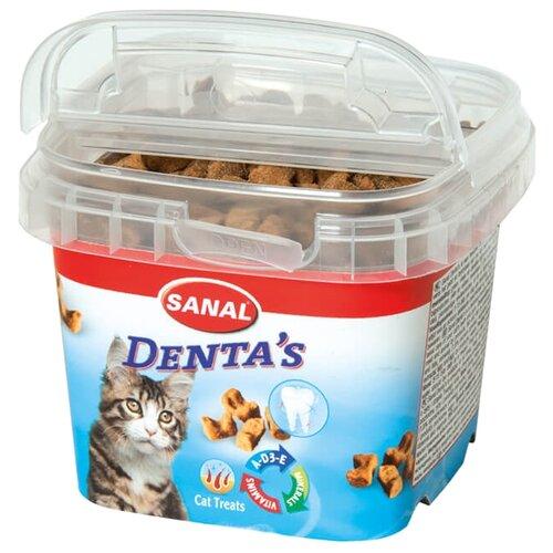 Лакомство для кошек SANAL Denta`s крокеты для ухода за зубами и дёснами, с витаминами A, D, E, 75г