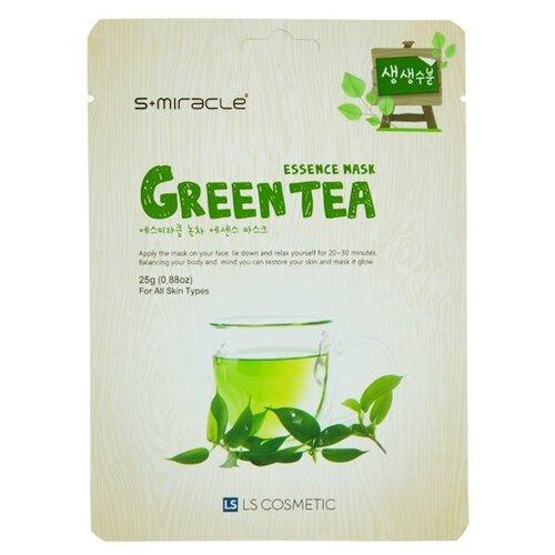LS Cosmetic тканевая маска s+miracle с экстрактом зеленого чая, 25 г