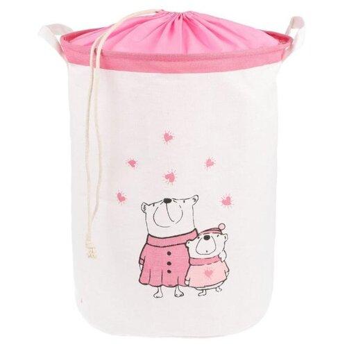 Корзина Наша игрушка Мишки 35х45 см (HXH2019040903-26) белый/розовый