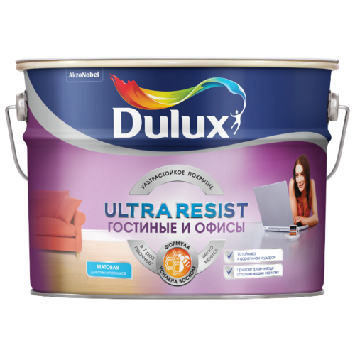 Краска латексная Dulux Ultra Resist Гостиные и Офисы моющаяся матовая белый 10 л краска dulux ultra resist гостиные и офисы матовая bc