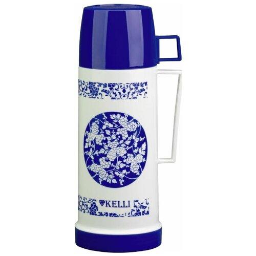 Классический термос Kelli KL-0972, 0.5 л белый/синий