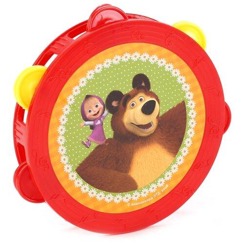 Купить Играем вместе бубен Маша и Медведь B421478-R красный/желтый/зеленый, Детские музыкальные инструменты