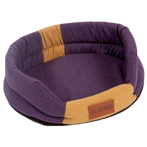Лежак для собак и кошек Katsu Animal M 72х60х10 см фиолетовый/песочный