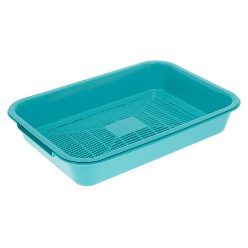 Туалет-лоток для кошек Сима-ленд 5077344/1430470/1430471/1430474 36х26х6.5 см бирюзовый