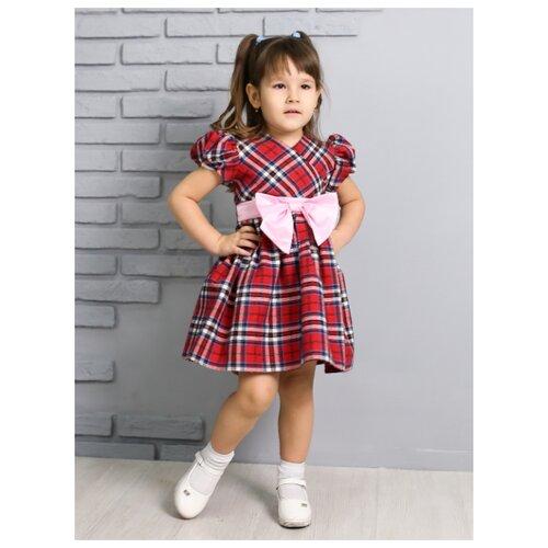 Платье Khmeleva размер 98, красный/голубой платье oodji ultra цвет красный белый 14001071 13 46148 4512s размер xs 42 170