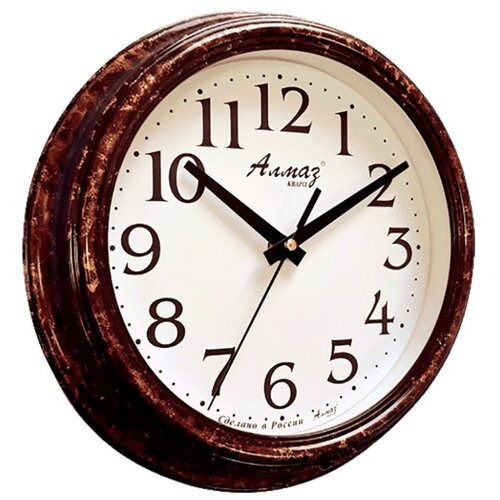 Часы настенные кварцевые Алмаз C04-C10 темно-коричневый/белый часы настенные кварцевые алмаз c04 c10 бежевый с рисунком белый