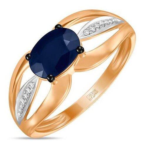 ЛУКАС Кольцо с сапфиром и бриллиантами из красного золота R01-D-BODD1268A-R17, размер 18 кольцо из золота r01 d r306443sap