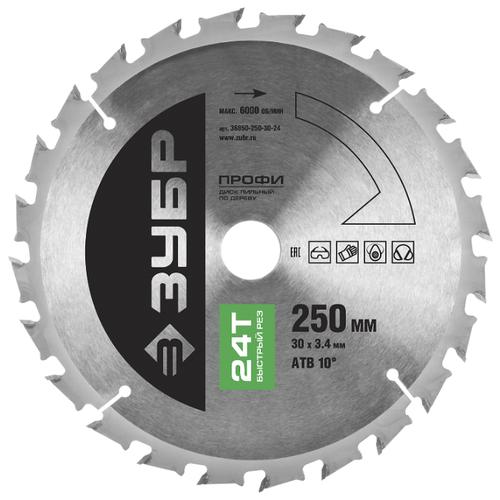 Пильный диск ЗУБР Профи 36850-250-30-24 250х30 мм диск пильный зубр 250х30 мм 24т 36850 250 30 24