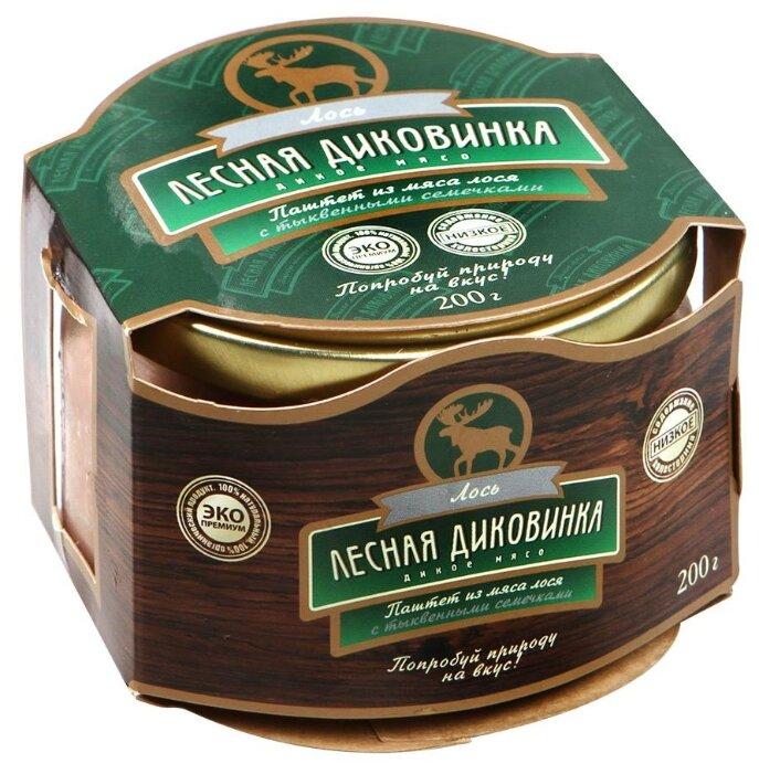 Паштет Лесная Диковинка из мяса лося с тыквенными семечками (стеклянная банка) 200 г