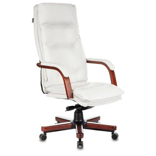 Компьютерное кресло Бюрократ T-9927WALNUT для руководителя, обивка: натуральная кожа, цвет: слоновая кость компьютерное кресло бюрократ t 9927walnut low для руководителя обивка натуральная кожа цвет черный