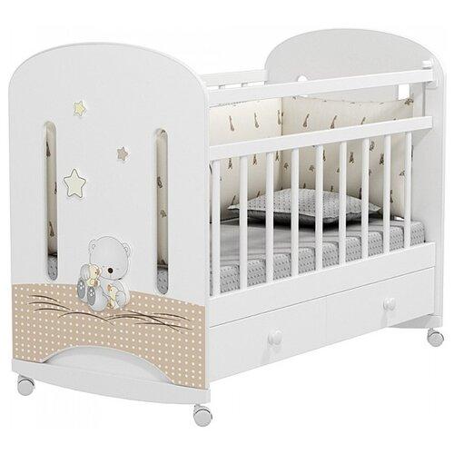 Кроватка Альма-няня Amici Nuvola (с ящиком + колесо) (качалка), на полозьях белый