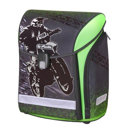 Herlitz Ранец New Midi Motorcross, серый/зеленый