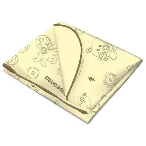 Многоразовая клеенка Inseense с ПВХ-покрытием c тесьмой, 70 х 100 см желтый с рисункомПеленки, клеенки<br>