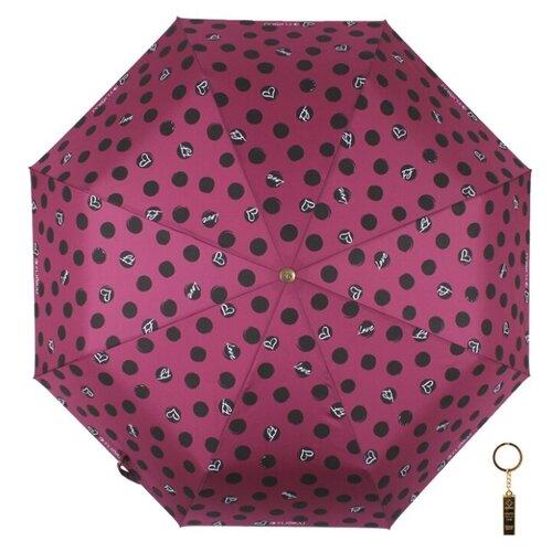 Зонт автомат FLIORAJ Premium Золотой брелок Горох фиолетовый