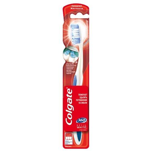 Зубная щетка Colgate 360 Optic White отбеливающая, средней жесткости, синий colgate зубная щетка 360 супер чистота всей полости рта электрическая средней жесткости цвет зеленый