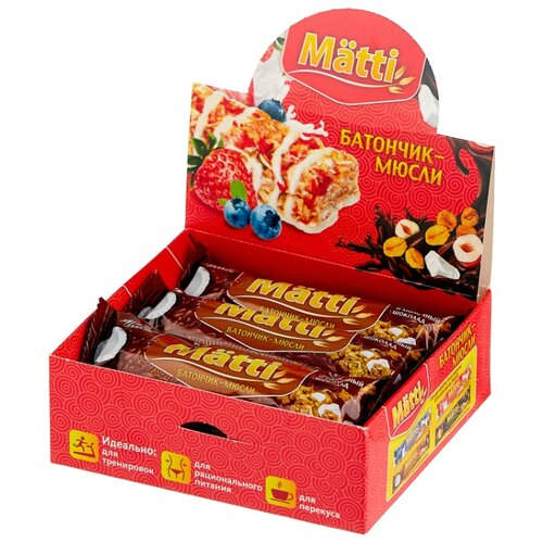 Злаковый батончик Matti Энергия злаков в шоколадной глазури Кокос и молочный шоколад, 6 шт matti батончик мюсли кокос и молочный шоколад 6 шт по 24 г
