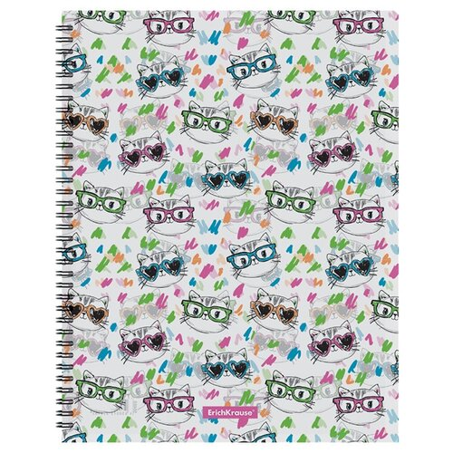 Купить ErichKrause Папка файловая с 20 карманами на спирали Neon cats A4, пластик, 4 штуки белый, Файлы и папки