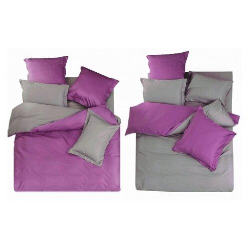 цена Постельное белье семейное СайлиД L-16, сатин серый/фиолетовый онлайн в 2017 году