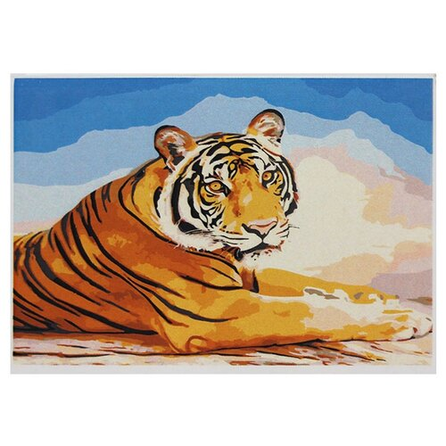 Купить Рыжий кот Картина по номерам Тигр на закате 30х40 см (Х-8083), Картины по номерам и контурам