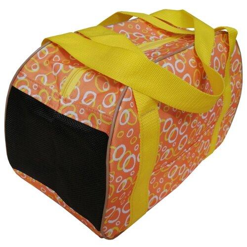 Сумка-переноска для кошек и собак Теремок СП-4 40х21х27 см оранжевый/желтый/белый