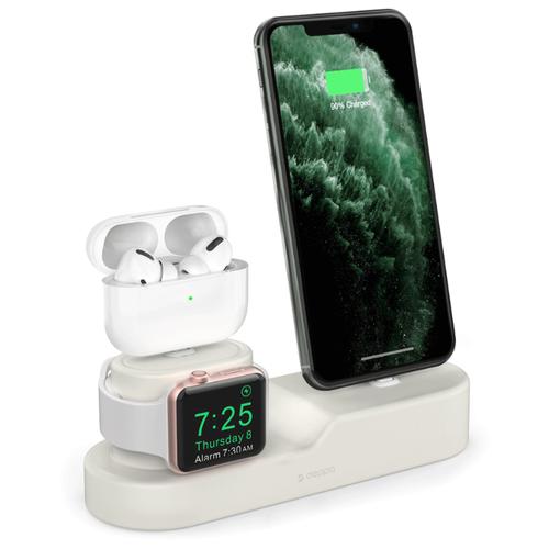 Подставка Deppa для зарядки 3-в-1 (iPhone AirPods 1/2/Pro Apple Watch 1/2/3/4/5) силикон кремовый