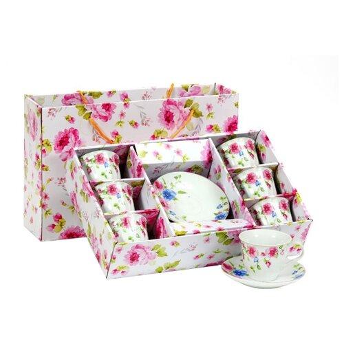 Чайный сервиз КерамСтрой Вьюнок, 6 персон белый/розовый