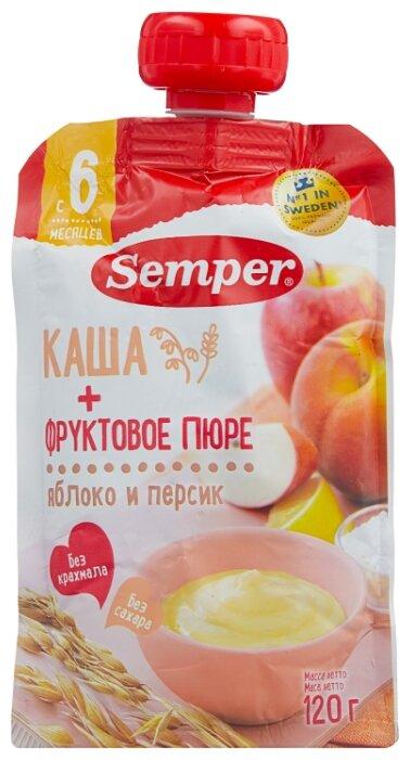 Пюре Semper яблочно-персиковое с кашей (с 6 месяцев) 120 г, 1 шт.