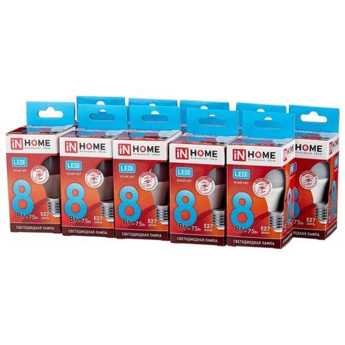 Упаковка светодиодных ламп 10 шт In Home LED-VC 600lm, E27, P45, 8Вт упаковка светодиодных ламп 10 шт in home led vc 900lm e27 a60 10вт