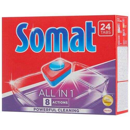 Фото - Somat All in 1 таблетки для посудомоечной машины, 24 шт. somat all in 1 таблетки лимон и лайм для посудомоечной машины 390 шт в6 уп