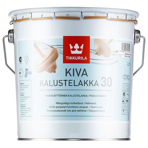Лак Tikkurila Kiva 30 полиакриловый бесцветный 2.7 л лак акрилатный tikkurila kiva 70 ep глянцевый 0 9 л