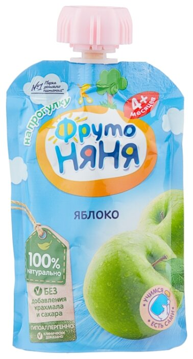 Пюре ФрутоНяня из яблок натуральное гипоаллергенное (с 4 месяцев) мягкая упаковка 90 г, 1 шт